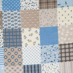 """Kissenbezug für Lagerungskissen """"Patchwork blau Dessin"""": blaues Stoffdesign für Kissenbezüge aus Baumwolle"""
