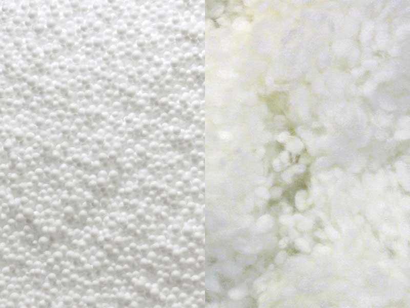 Füllung eines Lagerungskissens mit 2-Kammer-System: Kombination aus High-Tech-Faserfüllung mit Bakterienschutz und Polystyrol-Entspannungskugeln