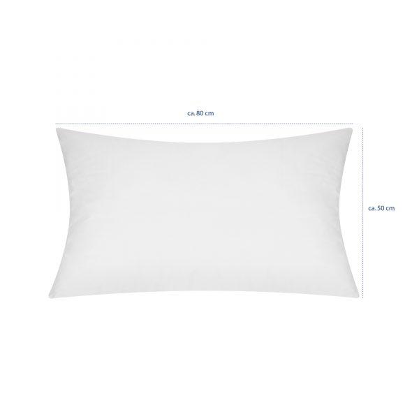 Armkissen (ca.50 x 80 cm) mit eingezeichneten Maßlinien, ohne Bezüge